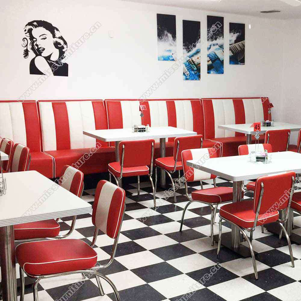 China Customize Red and White Stripe American 9s Retro Diner ...