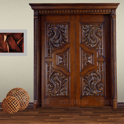 China Luxury Painting Antique Solid Wooden Double Entry Door Gsp1