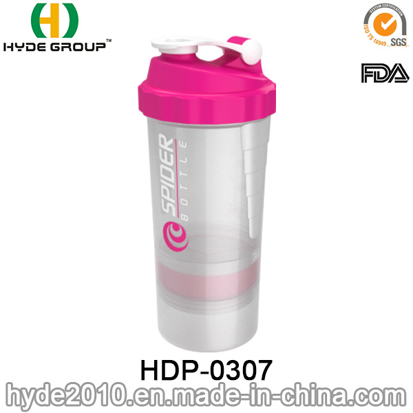 500ml BPA Free Plastic Spider Shaker Bottle, Plastic Protein Shaker Bottle (HDP-0307)