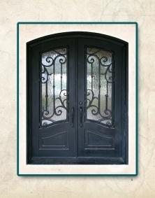 Eyebrow Arch Top Wrought Iron Door American Steel Main Double Interior Door
