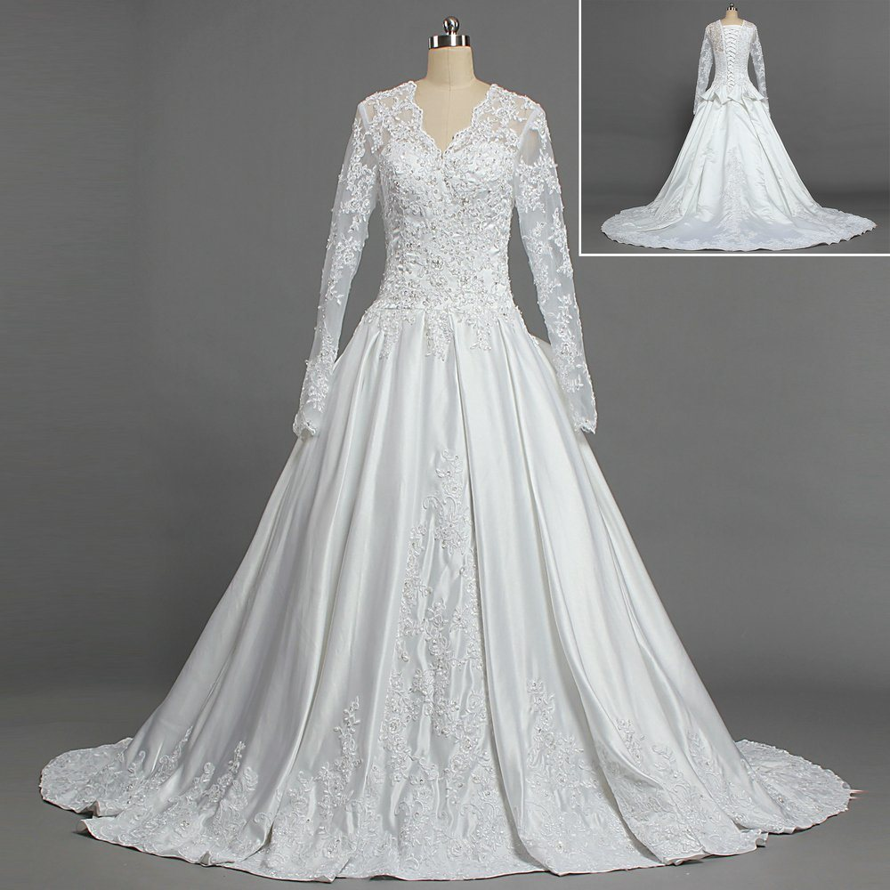 China Long Sleeves Wedding Dress Custom Made Lace Princess: China W322 Royal Train Satin Lace Muslim Long Sleeve