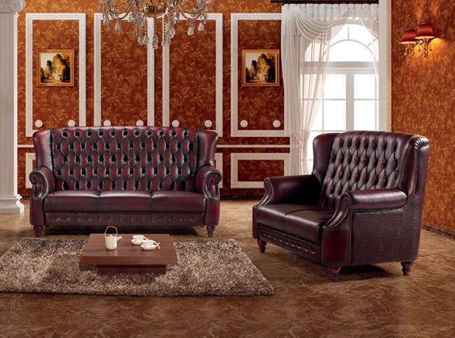 China Luxury High Back Red Leather Chesterfield Sofa Set Ms 09