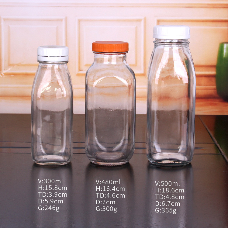 Juice Glass Bottles with Plastic  Caps 300ml 480ml 500ml pictures & photos