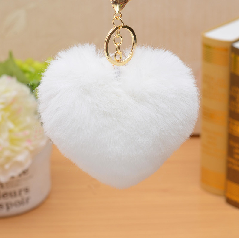 fc621634316e Trendy Fur POM POM Ball Key Chains Fake Fur Bag Charm Letter Faux Fur Ball