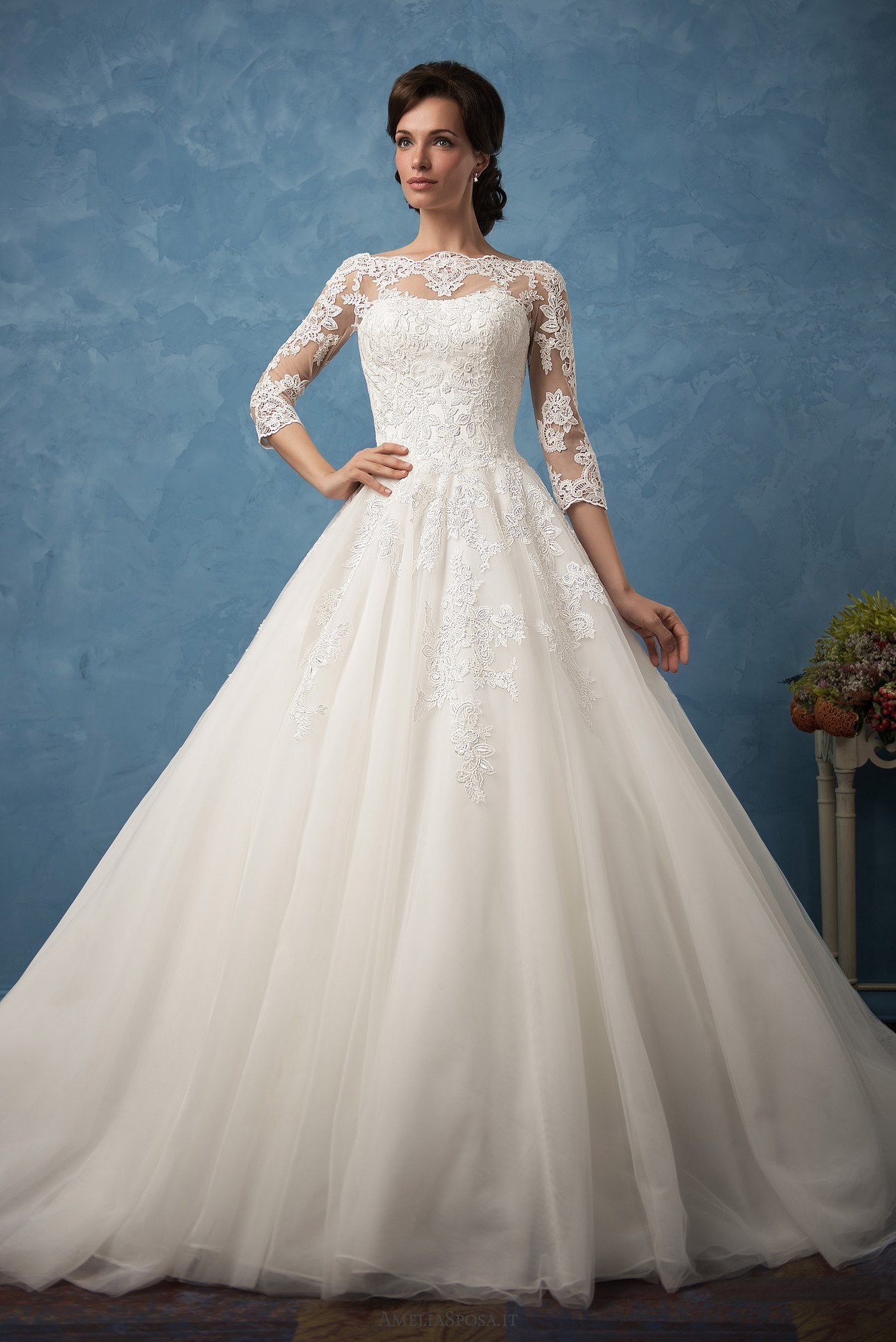 China Amelie Rocky Custom Made Lace 34 Sleeve Wedding Gowns Cheap