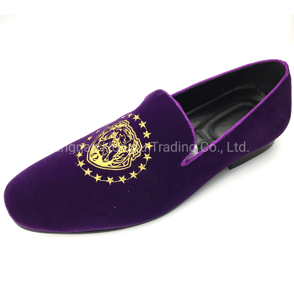 df561e798375a China Embroidered Velvet Loafers Branded Loafers Men Purple Velvet Loafers  - China Leather Shoes, Women Shoes