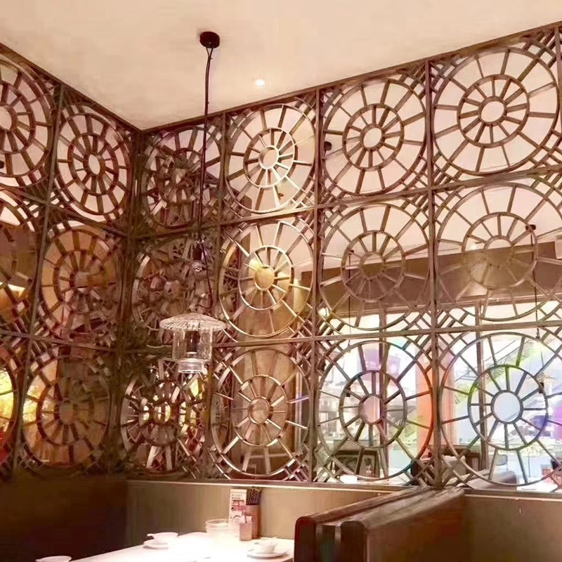 China Restaurant Metal Room Divider Stainless Steel Wall Screen
