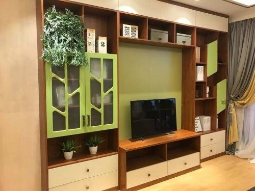 High End Melamine Plywood Modern Design TV Cabinet With Glass Door