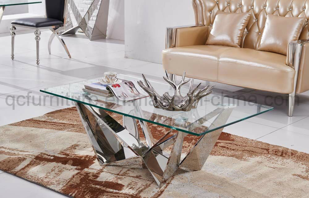 Clear Tempered Glass Top Coffee Table Stainless Steel Leg