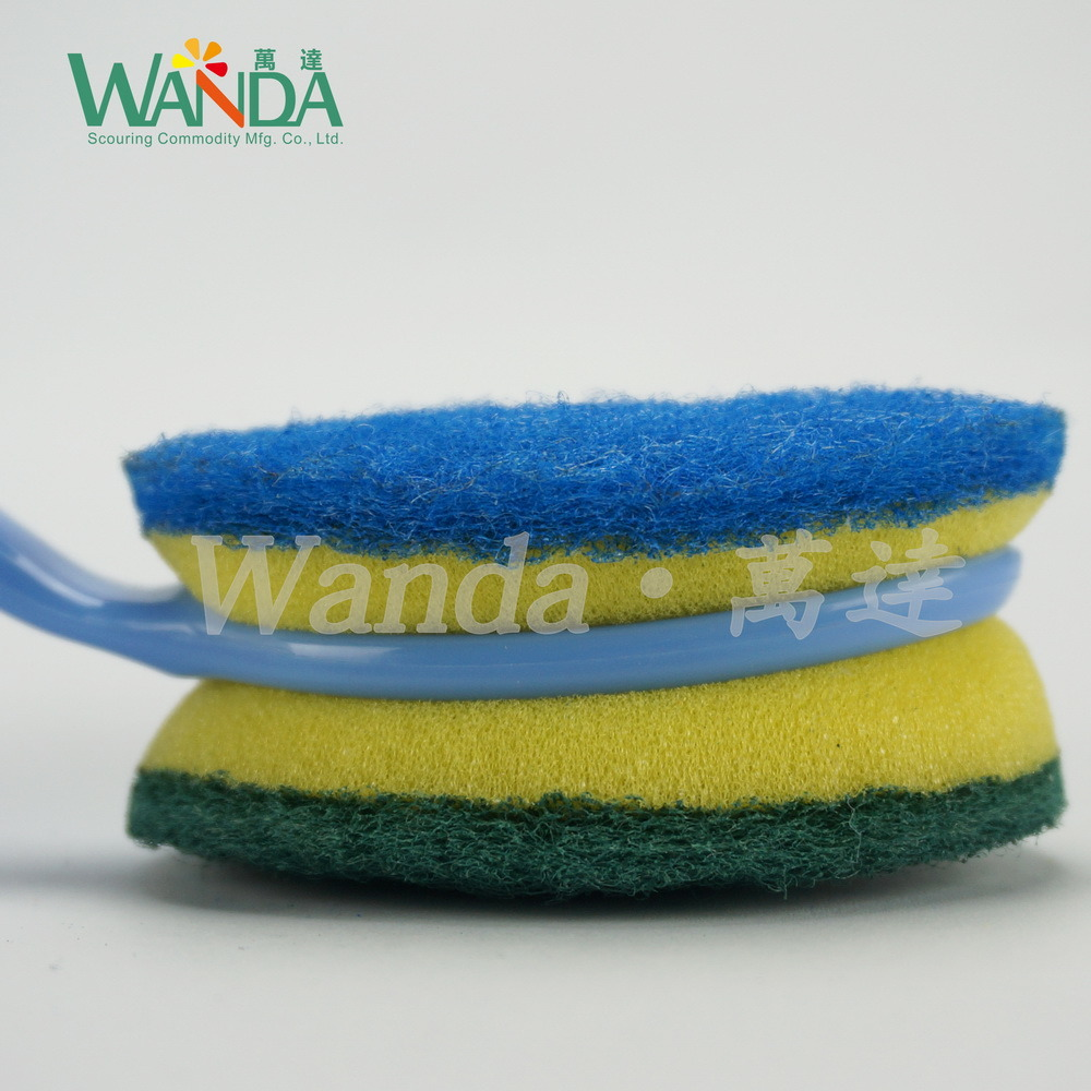 Double-Function Replaceable Scrub Brush Cleaning Sponge Brush with Handle pictures & photos