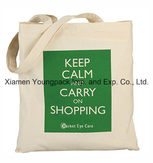 Promotional Reusable 100% Natural Cotton Textile Fabric Carrier Bag