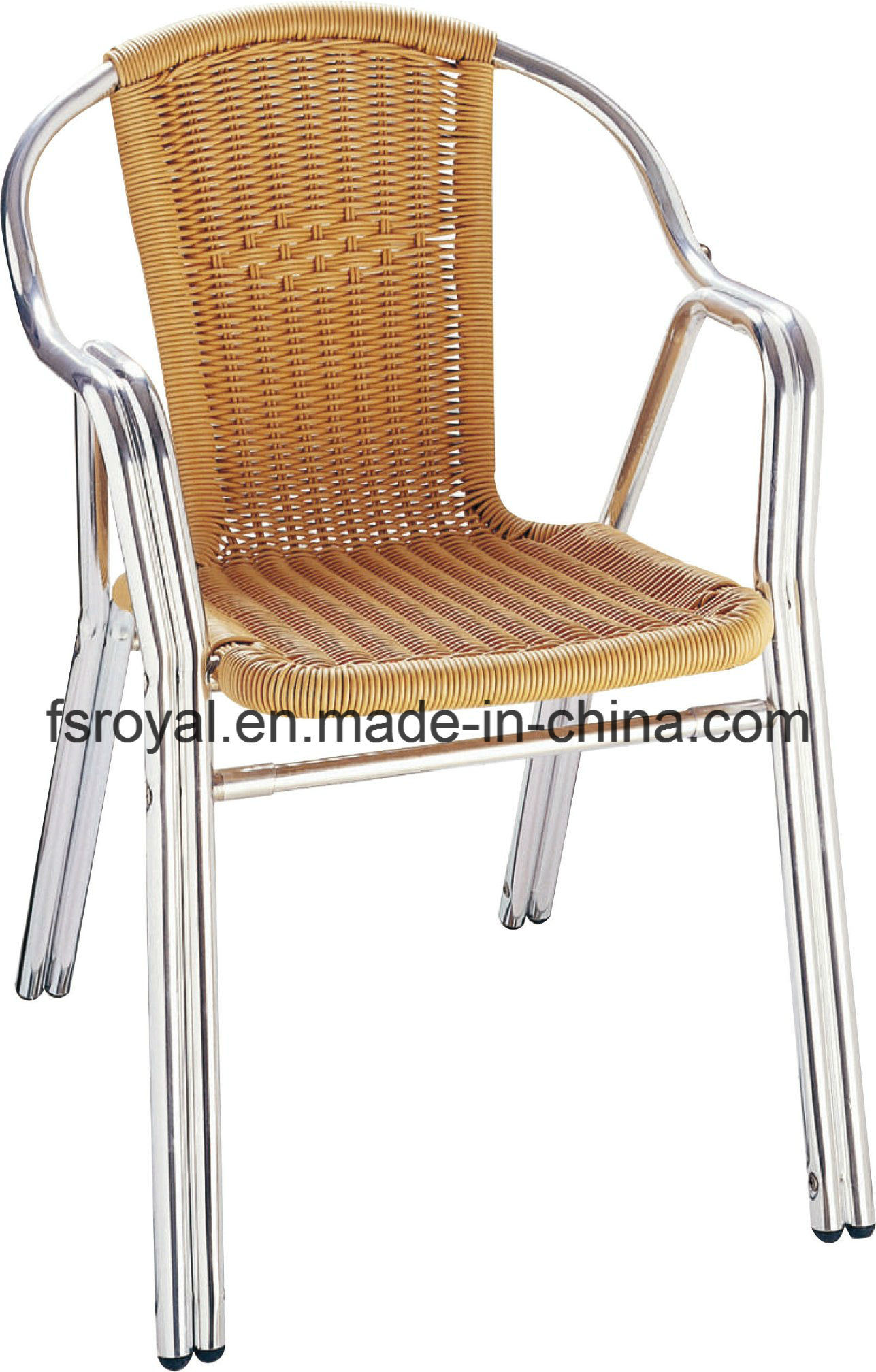 [Hot Item] Commercial Outdoor Restaurant Chairs Aluminium Anodized Rattan  Wicker Dining Chairs