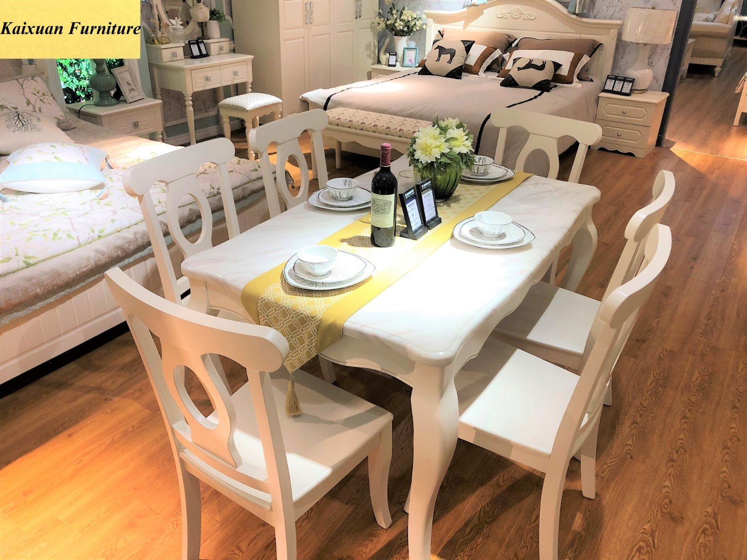Luxury Solid Wood Marble Dining Table