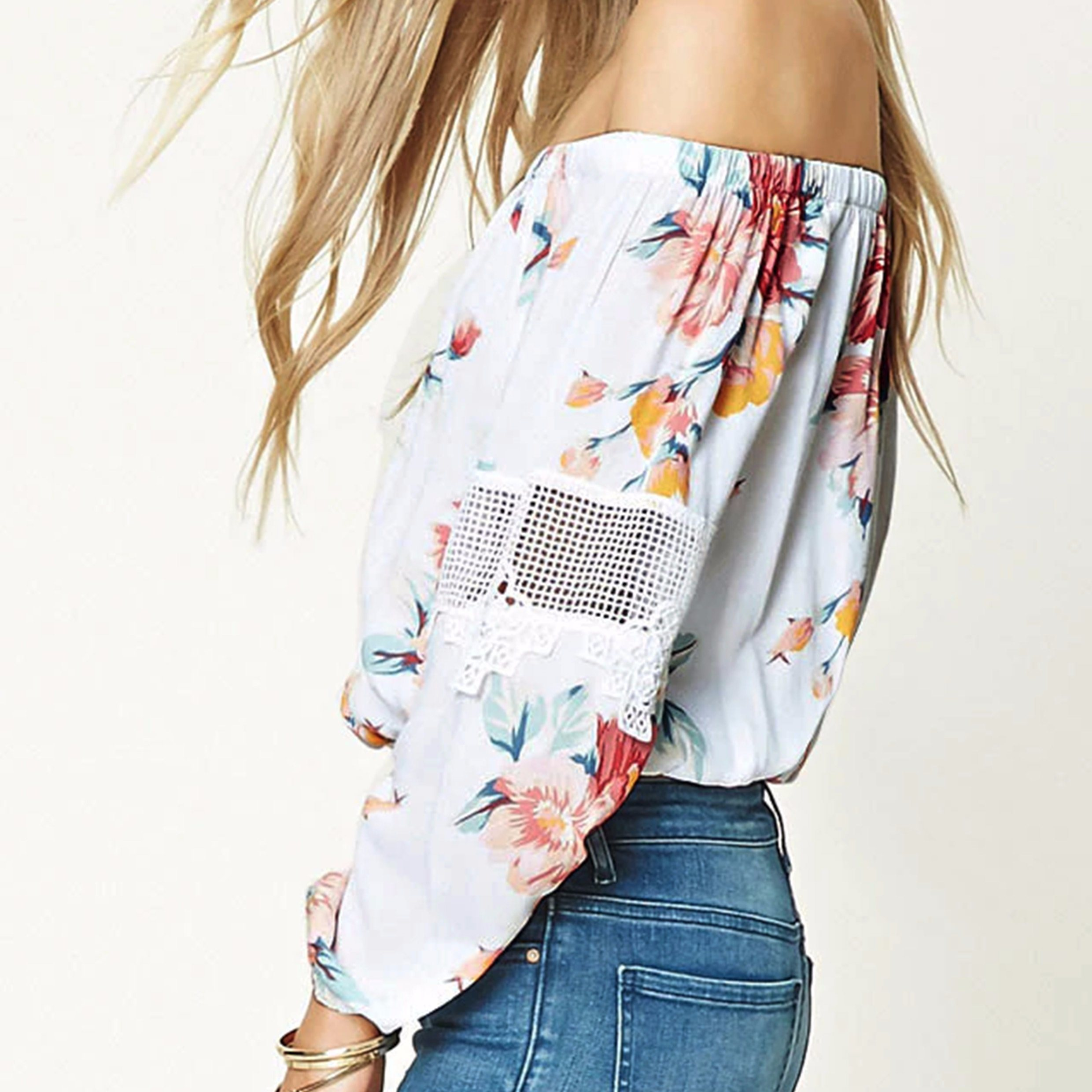 Fashion Flower Crochet Hollow Stitching off Shoulder Blouse