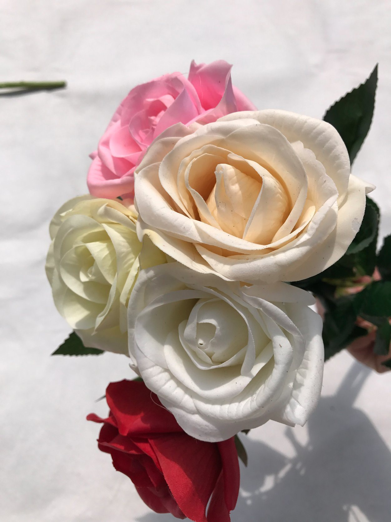 China Real Touch Silk Artificial Rose Flowers Fake Leaf For Wedding