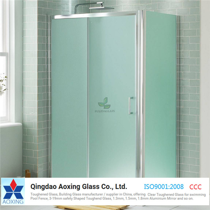 China Tempered Frosted Acid Etched Glass Panels For Bathroom Door