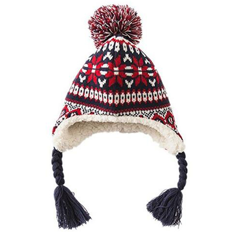 China Knit Warm Ear Flap Ski Braided Winter POM POM Hat Trooper ...