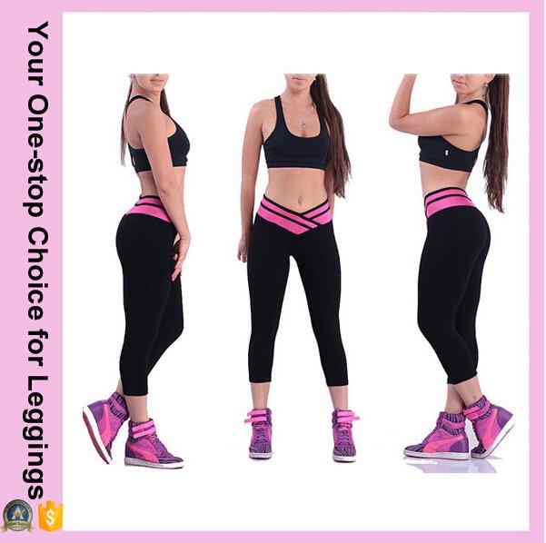a8585a39183c2 China Women New Designs Overlap Waist Capri Cropped Skinny Yoga Pants -  China Women Pants, Fitness Pants