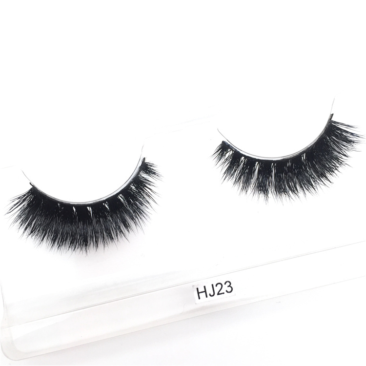 China Super Thick Dark Black Real Mink Fur False Wispies Eyelashes