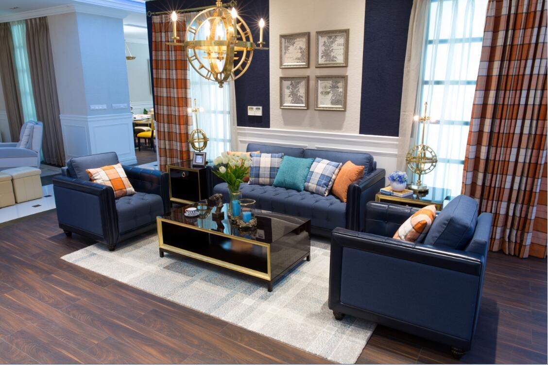 Economical Leather And Fabric Mixed Sofa Set (BM 2)