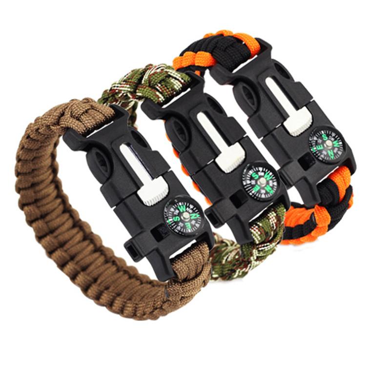 Hot Item Fashion Survival Bracelet Flint Fire Starter Gear Escape Paracord Whistle Cord Buckle Camping Bracelets Rescue Rope Travel Kits