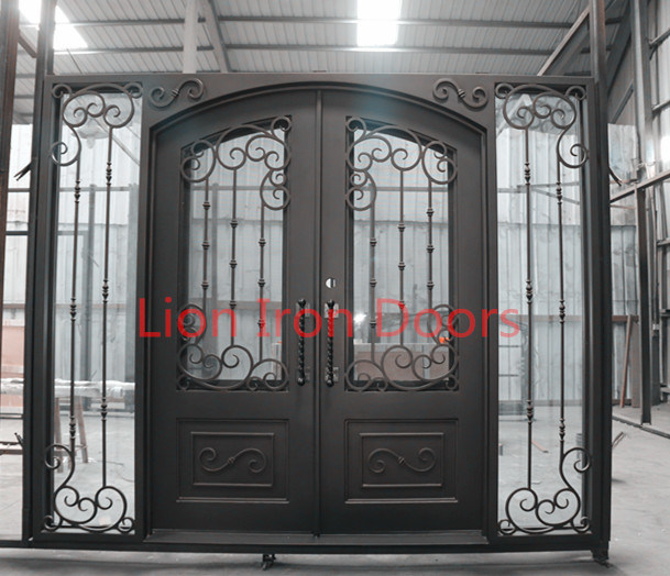 Residential Metal Doors With Tempered Glass Wrought Iron Front