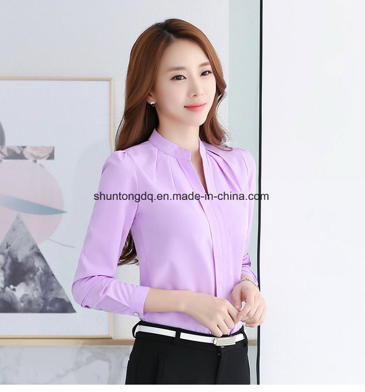 292f3c3e6601b China Spring Autumn Women Tops Long Sleeve Casual Chiffon Blouse ...