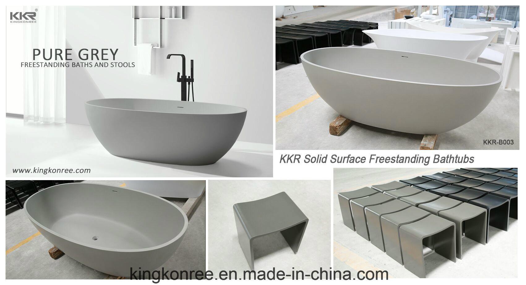 China Kkr Resin Stone Soaking Bathtub Free Standing Oval Bath Tub ...