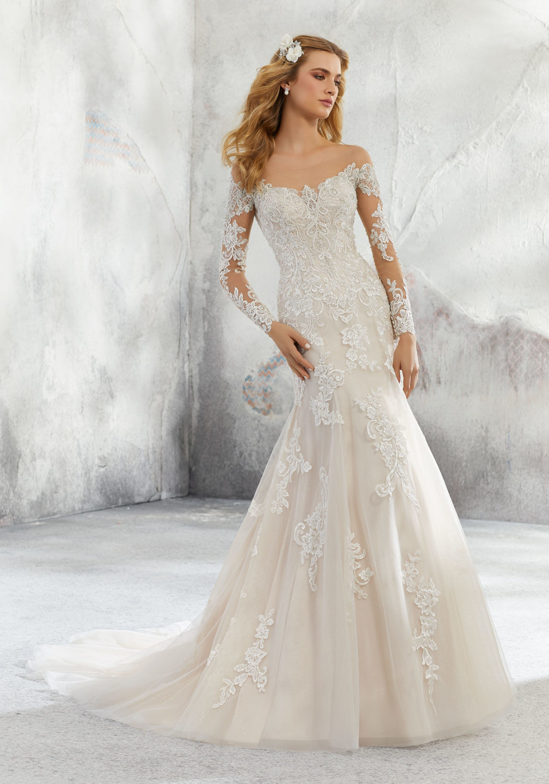 e128ca77339 off Shoulder Bridal Gowns Long Sleeves Lace Wedding Dresses 2019 L8293