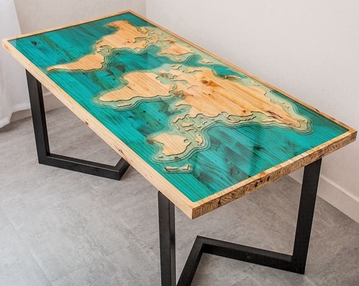 Hot Item High Quality Unique Design Walnut Solid Wood Slab Epoxy Resin River Dining Table