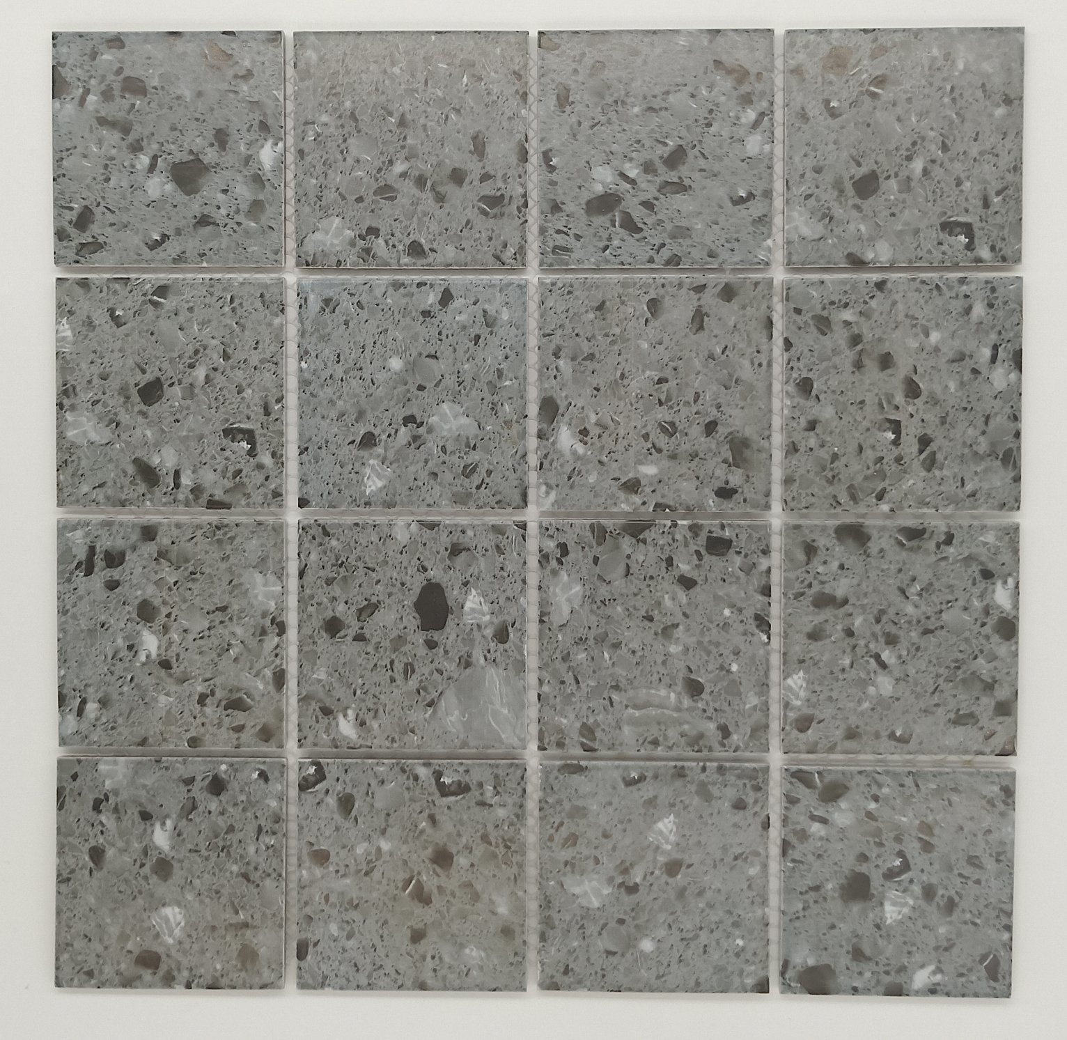 Hot Item Light Grey Concrete Terrazzo Floors Square Mosaic Tiles