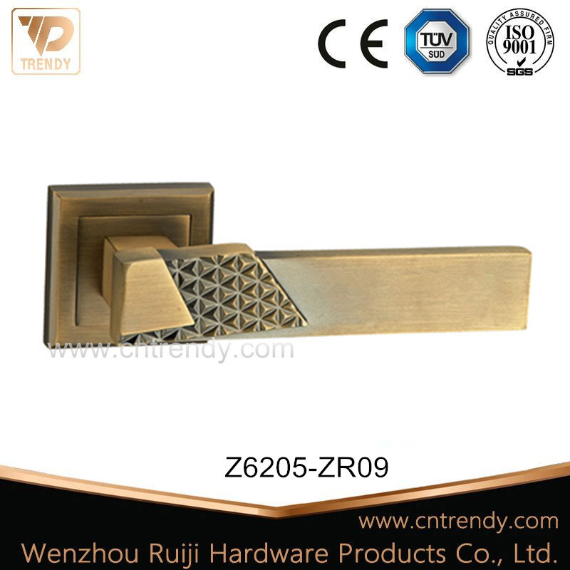 Coffee Decorative Door Lever Lock Handle on Square Rosette (Z6205-ZR09) pictures & photos