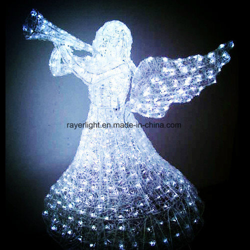 48 Animated Crystal 3 D Angel With Trumpet Lighted Christmas Yard