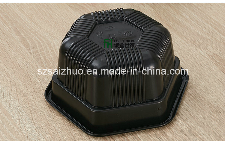 Single Hexagonal Thicken Two Layers Disposable Plastic Food Container
