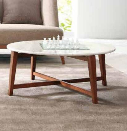 Living Room Furniture Solid Wood Natural Marble Top Coffee Table