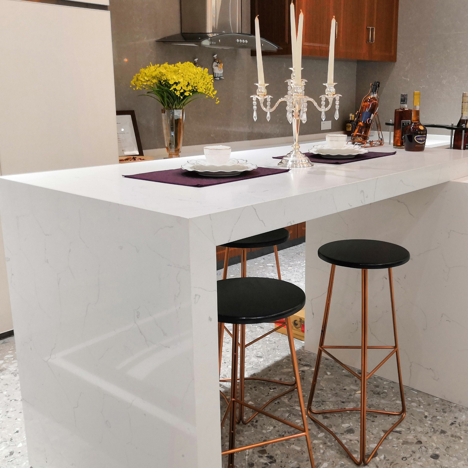 [Hot Item] 9mm 9mm 9mm 9mm Kitchen Artificial Marble Quartz Stone Slab  Work Table Countertop