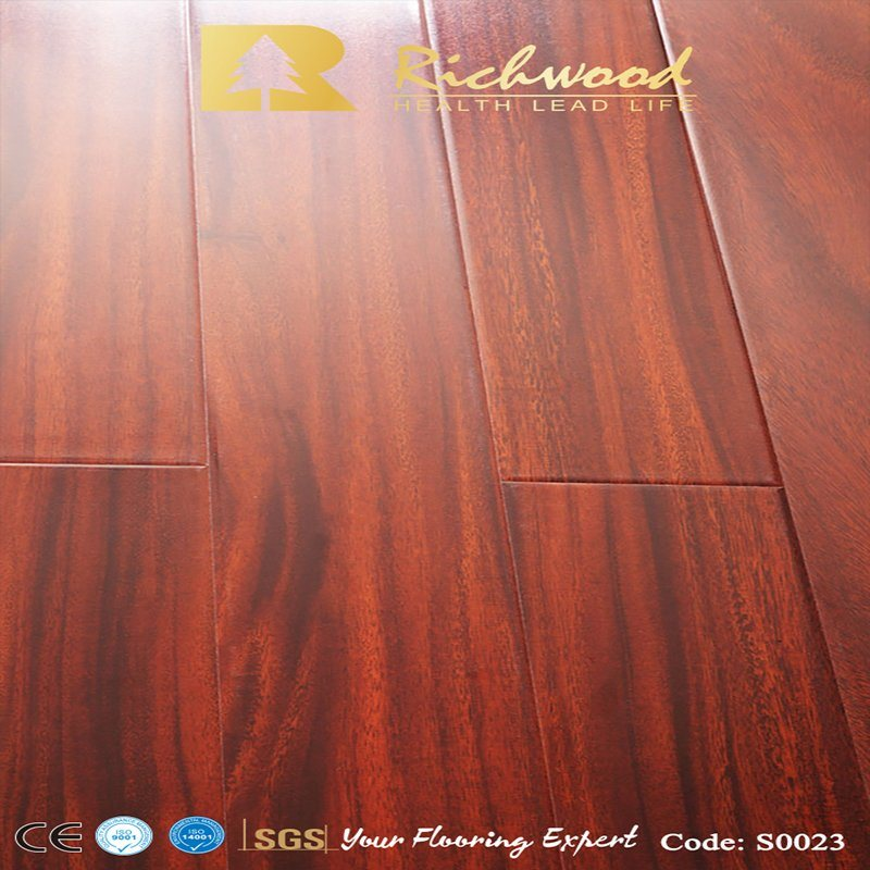 8mm Mahogany Wax Coating Laminate Floor