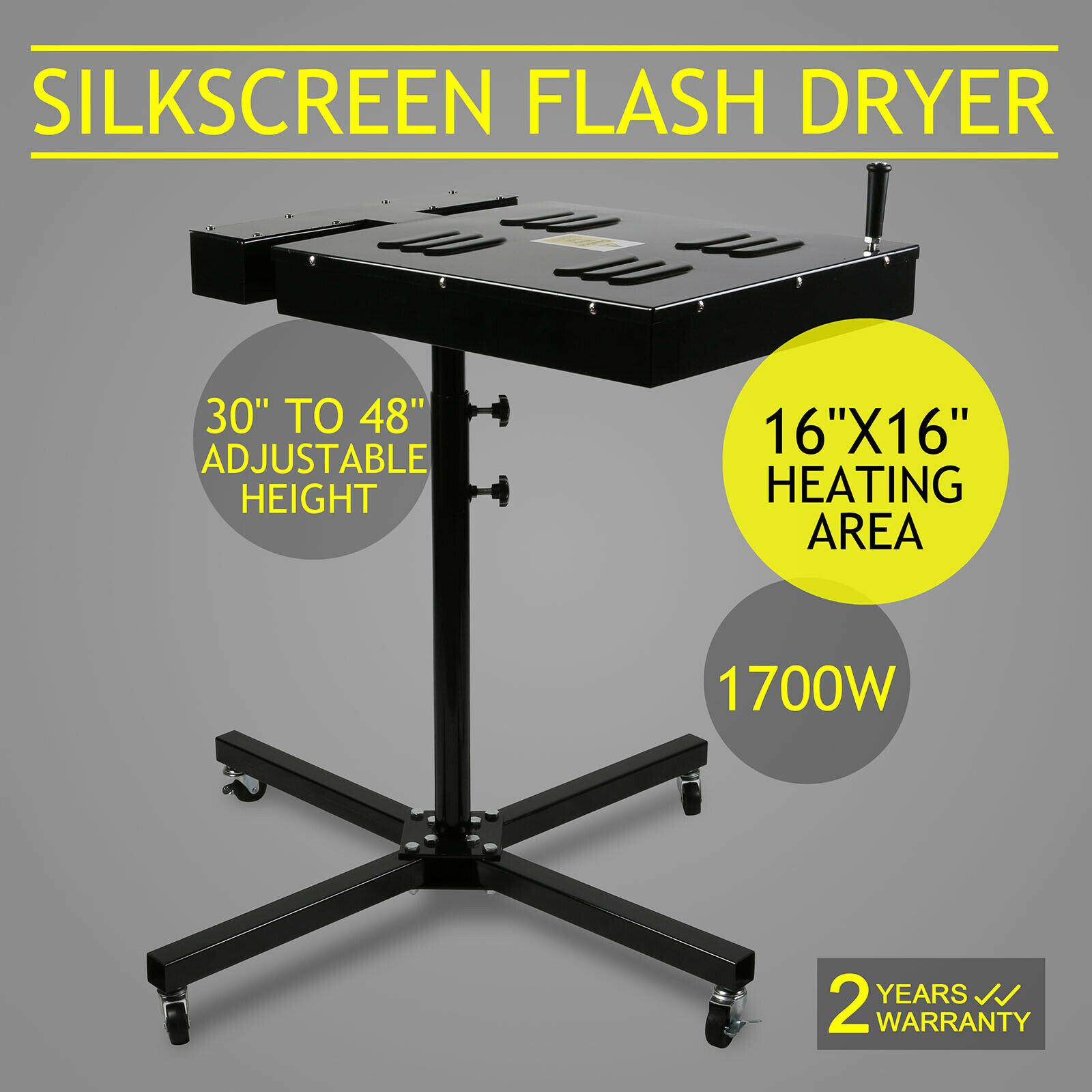 18x18 Flash Dryer Silkscreen Equipment T-shirt Printing Curing Adjustable Height