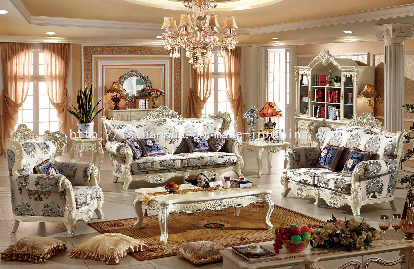 China White Carving Luxury European Classic Wood Sofa Set ...