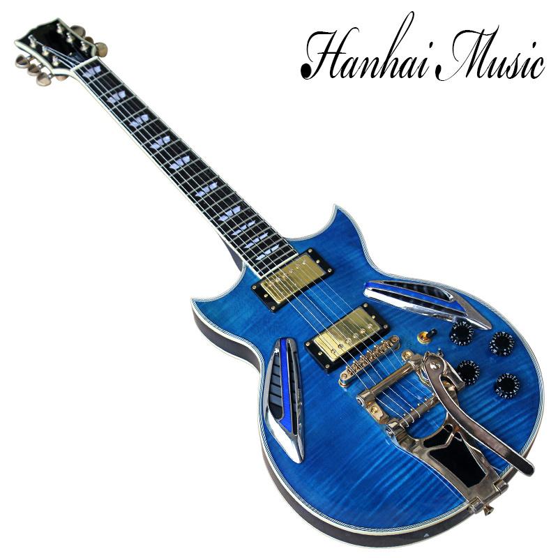 China Hanhai Music Semi Hollow Blue Electric Guitar With