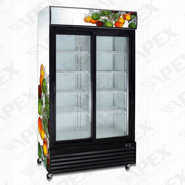China Supermarket Double Glass Door Display Cooler With High Quality