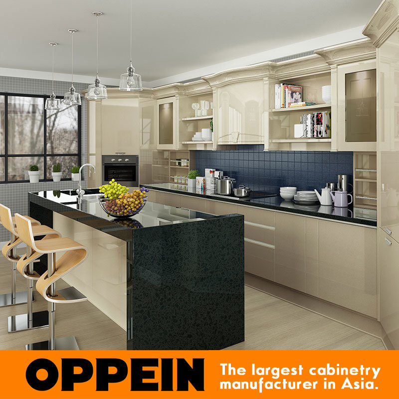 China Oppein Modern Light Yellow High Gloss Lacquer Kitchen Cabinets