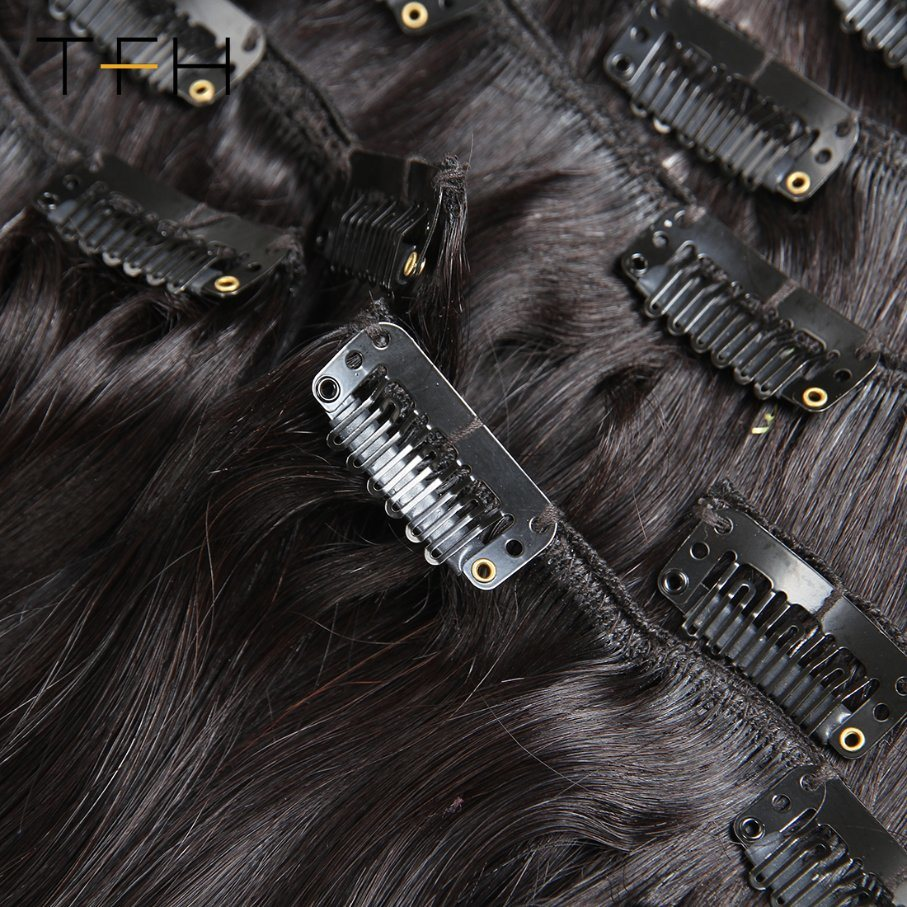 China Brazilian Straight Hair Clip In Human Hair Extensions Natural