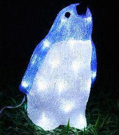Outdoor Christmas Holiday Decoration LED Solar Penguin Motif Acrylic Light