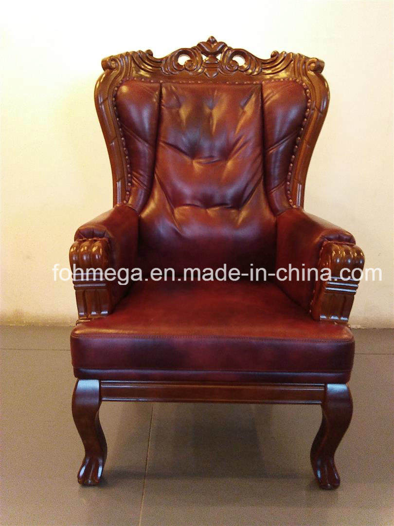 China Baroque Real Leather King Throne Chair For Office And Home Use