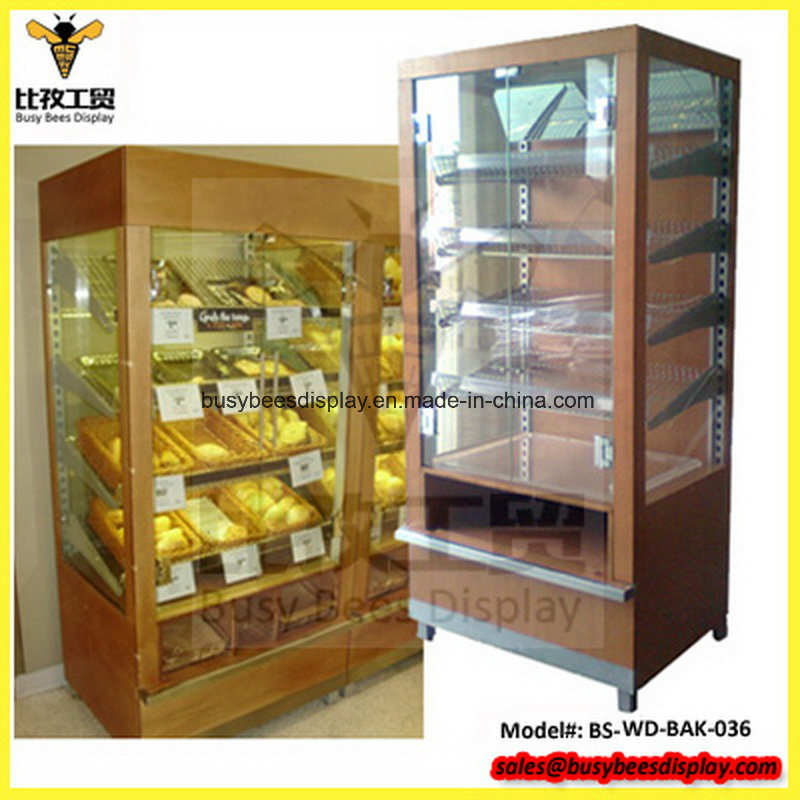 Hot Item Metalwoodenglassacrylic Bakery Mark 5 Naked Bread Unit Floor Display Stand For Stores With Bread Clip Acrylic Tray And Mirror Storage