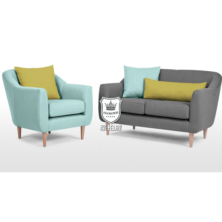 Apartment Fresh Bright Colored Sofa Set With Oak Legs