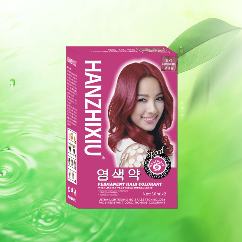 China Hzx Natrual Hair Color Dey 100 Cover Your Grey Hair Wine Red