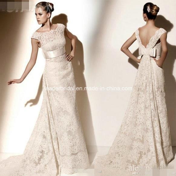 China Lace Bridal Gowns V Neck Bow Sash Wedding Dress H13106