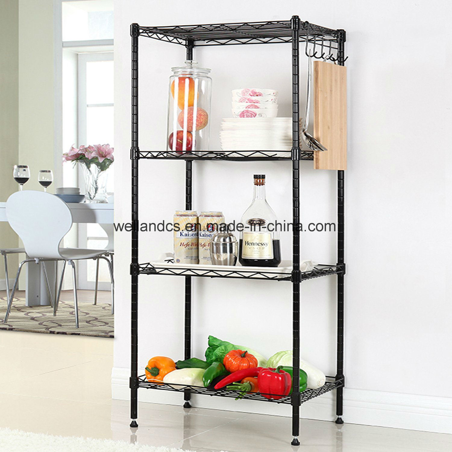 Hot Item Adjustable 4 Tier Powder Coated Black Wire Shelving Unit Kitchen Food Pantry Storage Shelf Accessories